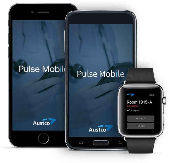 Austco Pulse Mobile: alarm management and workflow on nurses apple or android phones